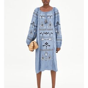 Zara Denim Chambray Embroidered Midi Dress NWT, XS